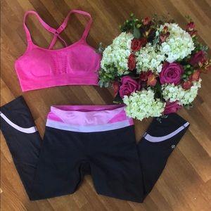 Lululemon Pink and Gray Cropped Legging